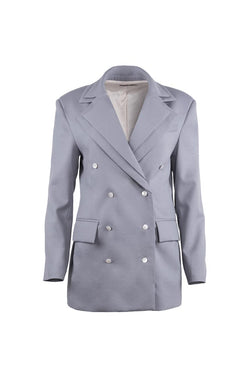 Silver-Blue Virgin Wool Jacket - Shopyte