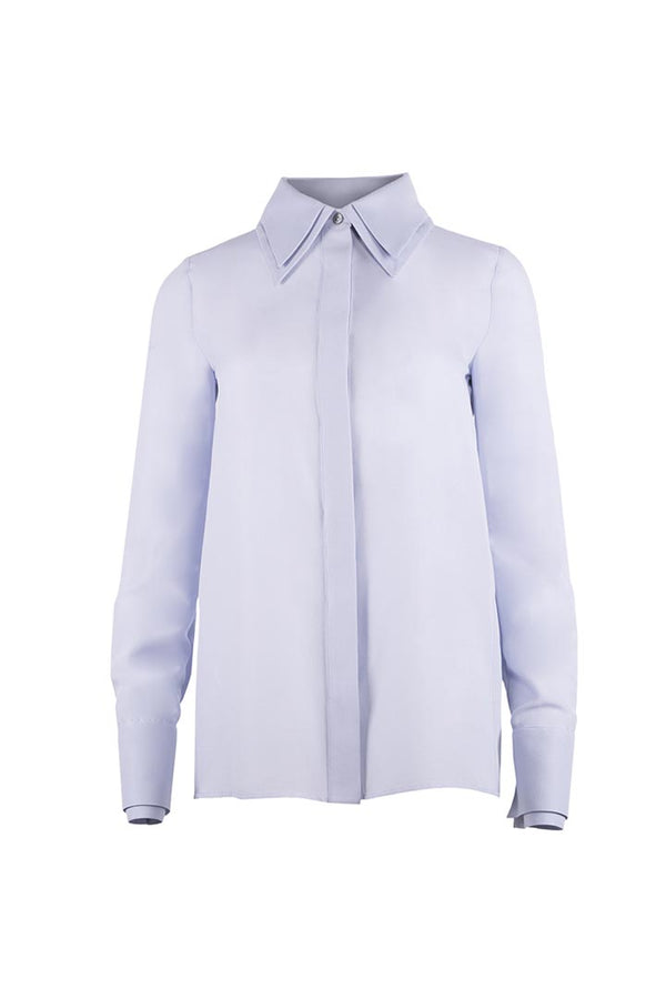 Silver-Blue Silk & Cotton Shirt - Shopyte