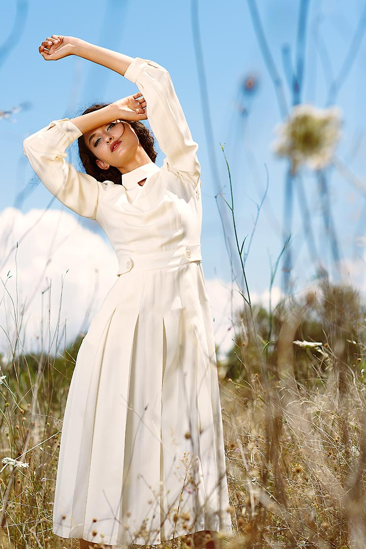 Daisy white silk wool dress - Shopyte
