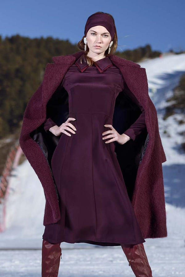 Burgundy Baby Alpaca Coat - Shopyte