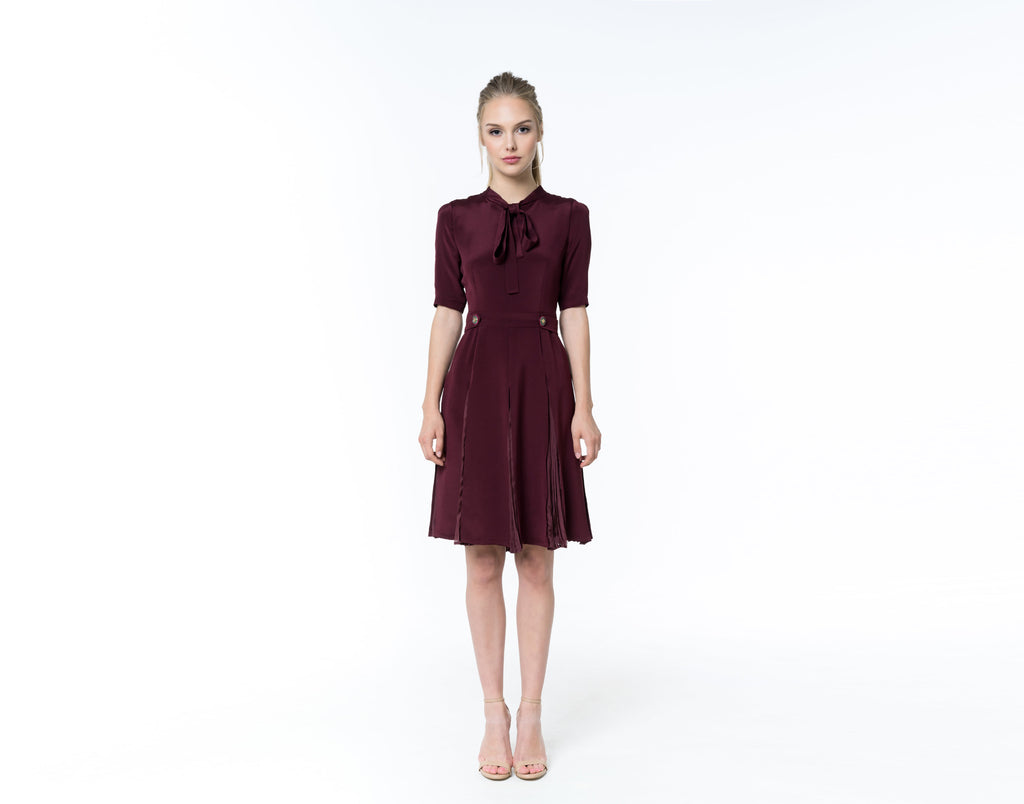 Burgundy silk dress - Shopyte