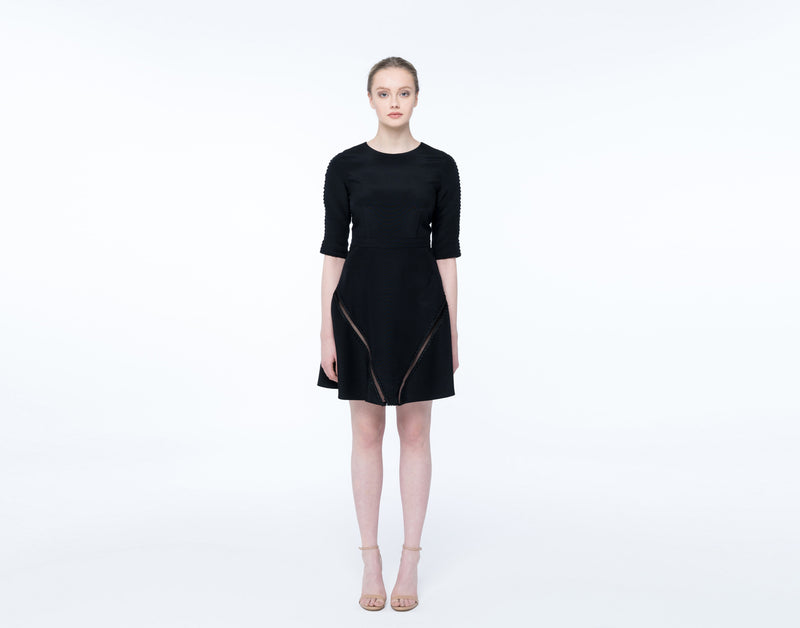 Black silk linen dress - Shopyte