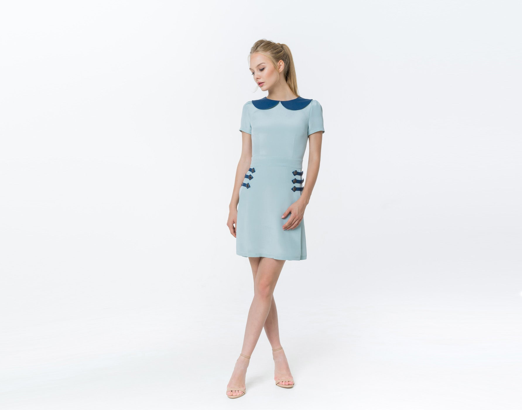 Tiffany blue silk dress - Shopyte