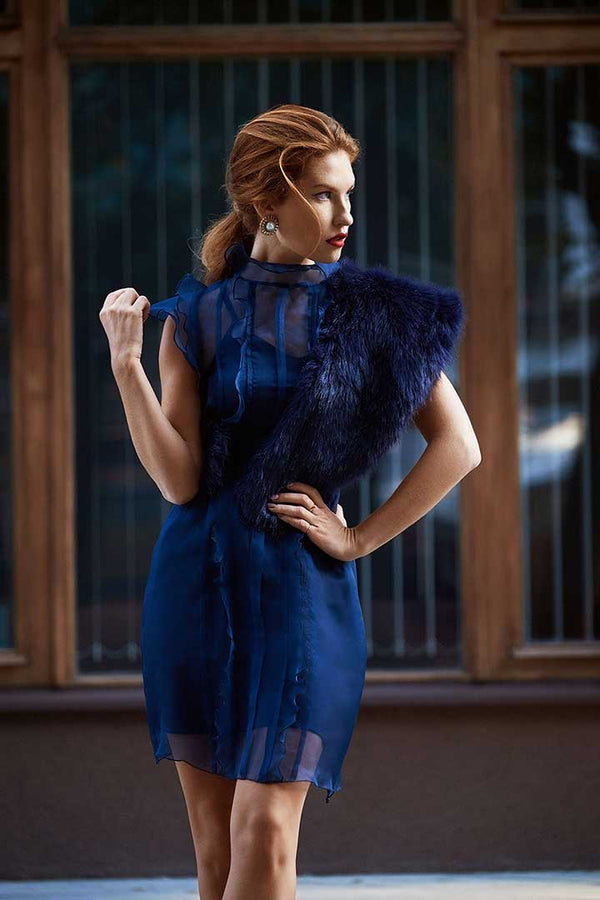 Midnight blue silk organza dress - Shopyte