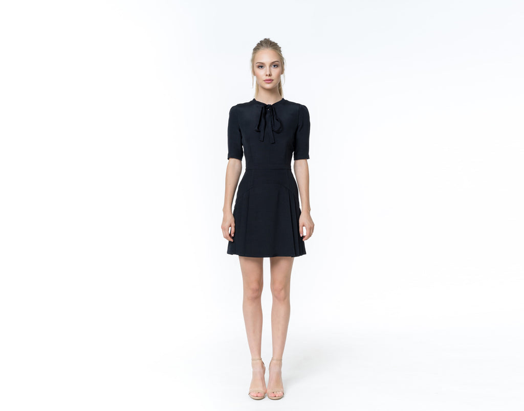 Black silk linen dress