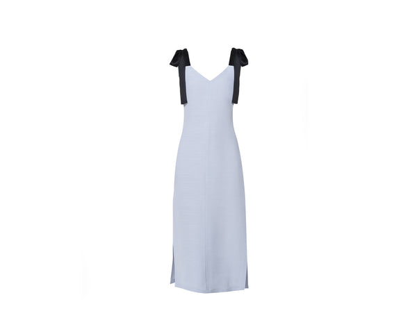 Sky blue silk linen dress - Shopyte