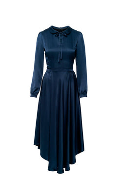 Oxford Blue Silk Dress - Shopyte