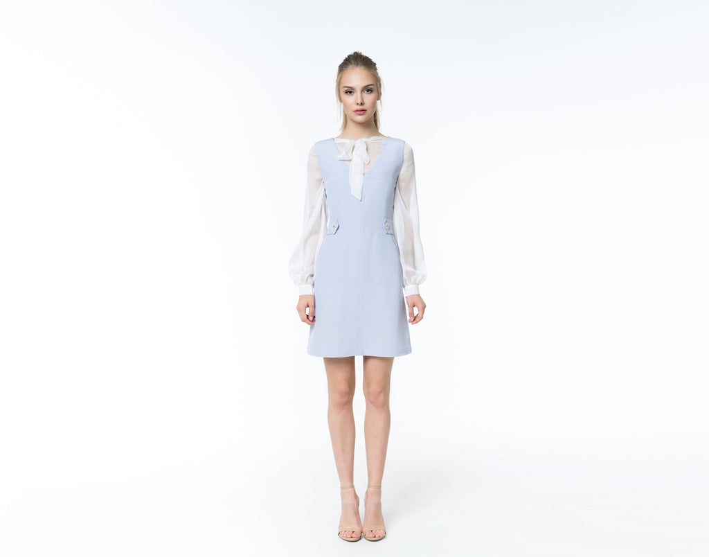 Sky blue silk linen dress