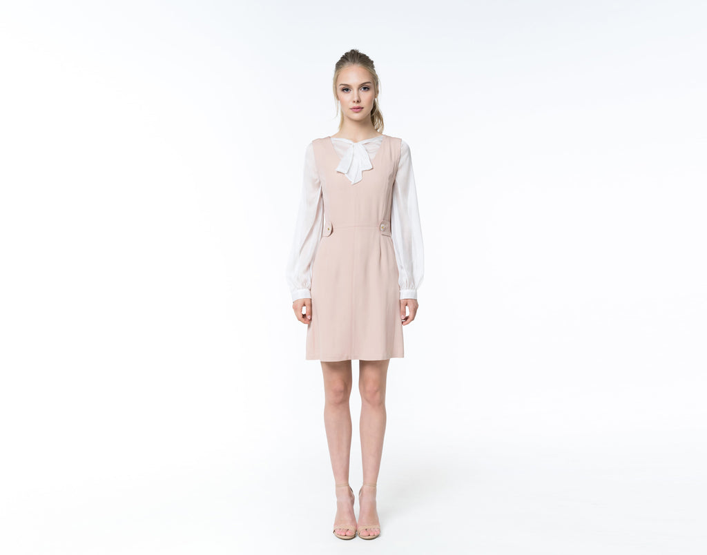 Powder pink silk dress