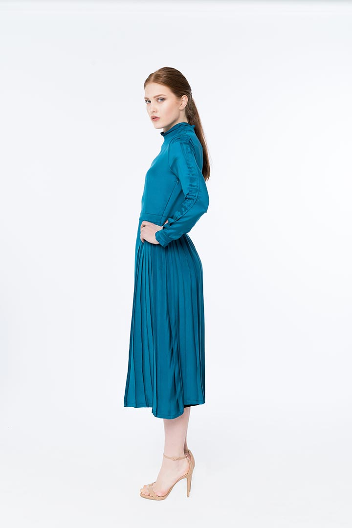 Egyptian Blue Silk Dress - Shopyte