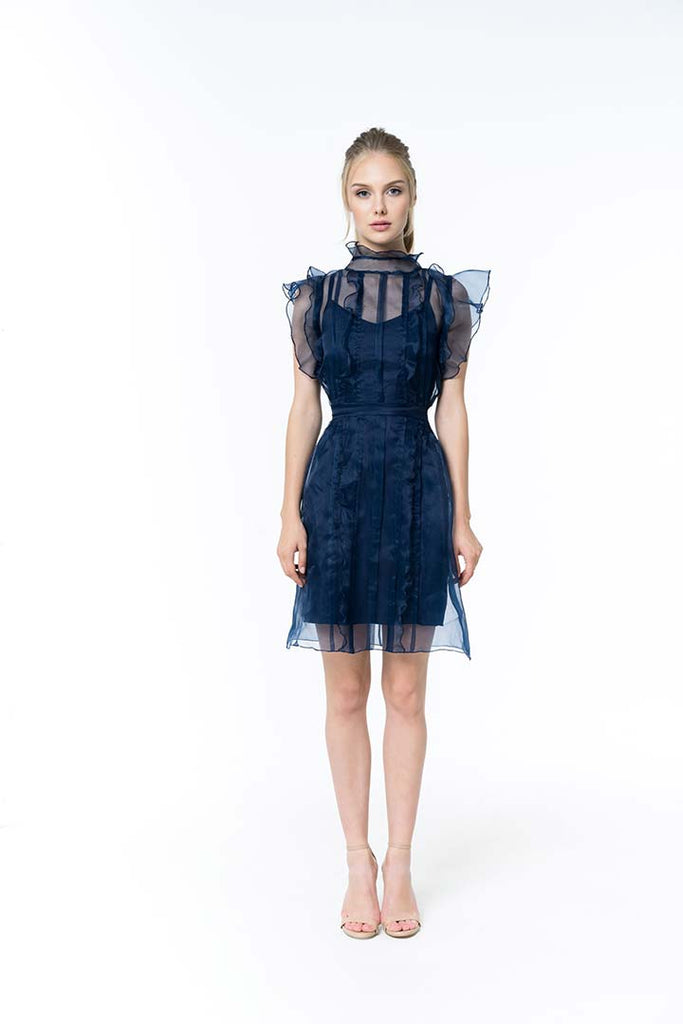 Midnight blue silk organza dress