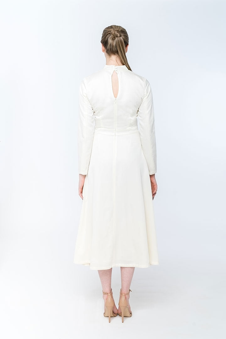 Daisy White Silk & Wool Dress