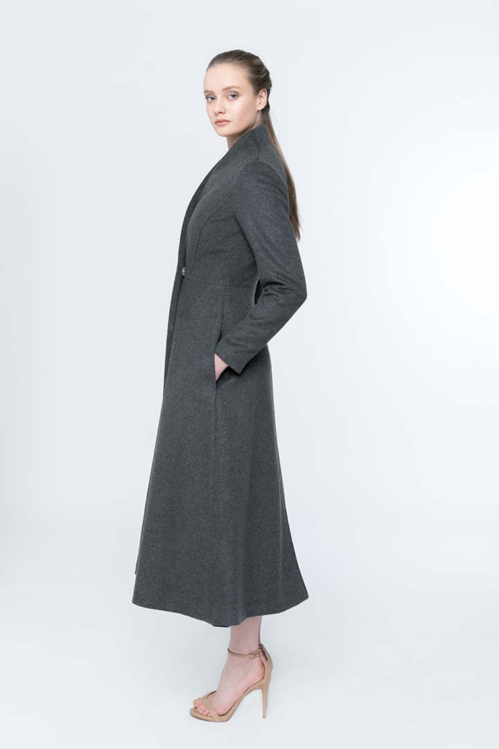 Iron grey baby camel coat - Shopyte