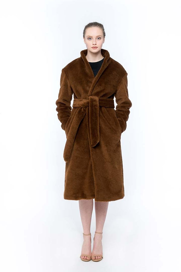 Syrup brown merino wool coat - Shopyte