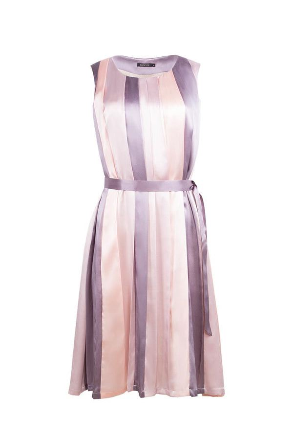 Pink & Purple Striped Silk Dress - Shopyte