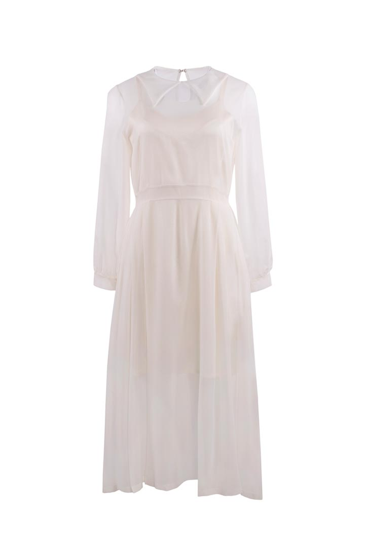 Porcelain White Silk Dress - Shopyte