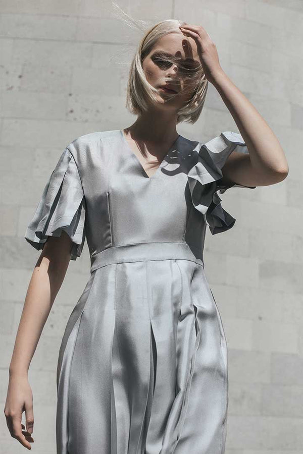 Horizon Grey Silk Dress