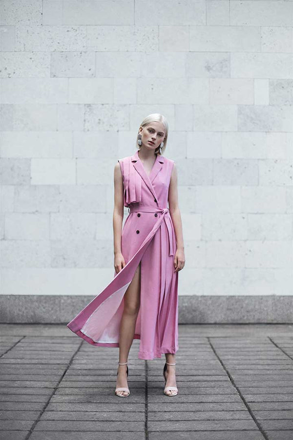 Flamingo Pink Wool Dress