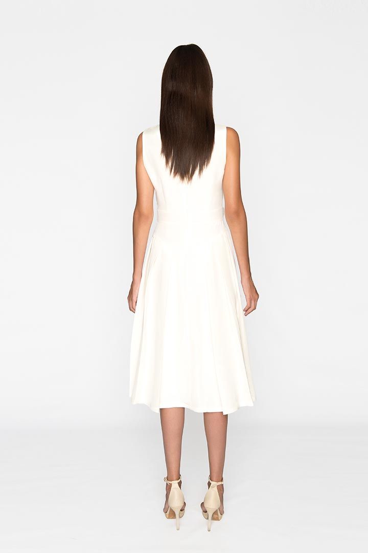 Daisy White Silk & Cotton Dress - Shopyte