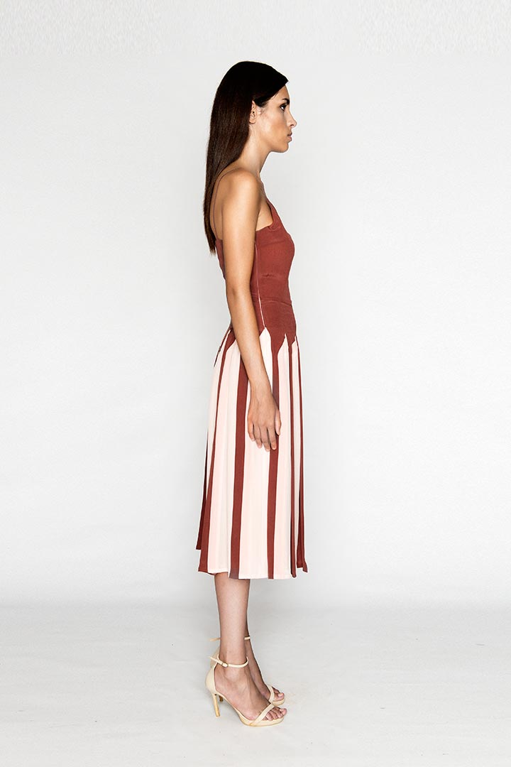 Puce Red Silk Dress - Shopyte