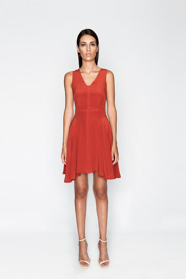 Scarlet Red Silk Dress - Shopyte