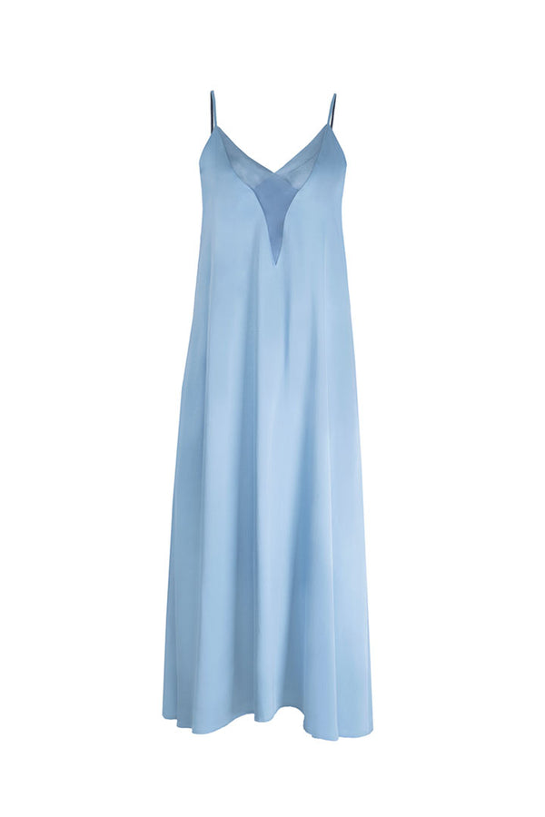 Sky Blue Silk & Wool Dress