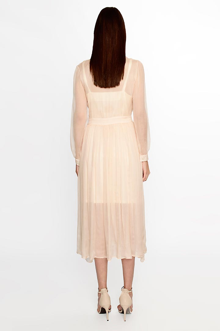 Peach Puff Silk Dress - Shopyte