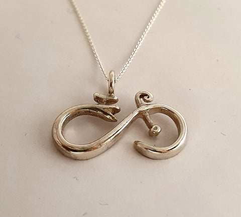 Silver Infinity Bike Necklace