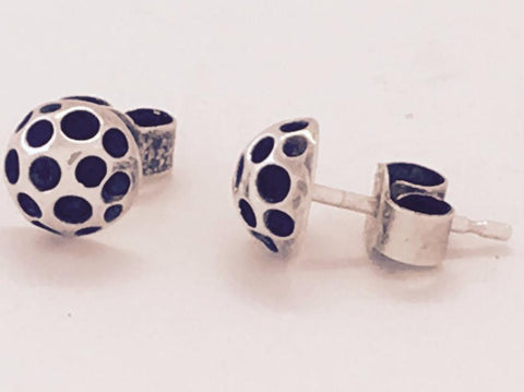 Silver & oxidised holey stud earrings