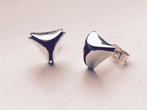 Silver Triangular Stud Earrings