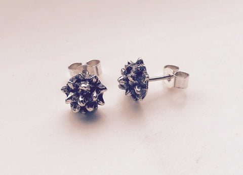 Silver & oxidised spike stud earrings