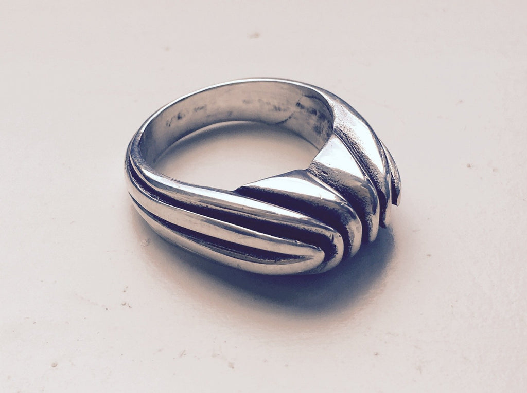 solid silver chunky deco ring