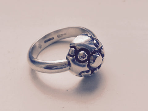 Silver & Oxidised bobbly ring