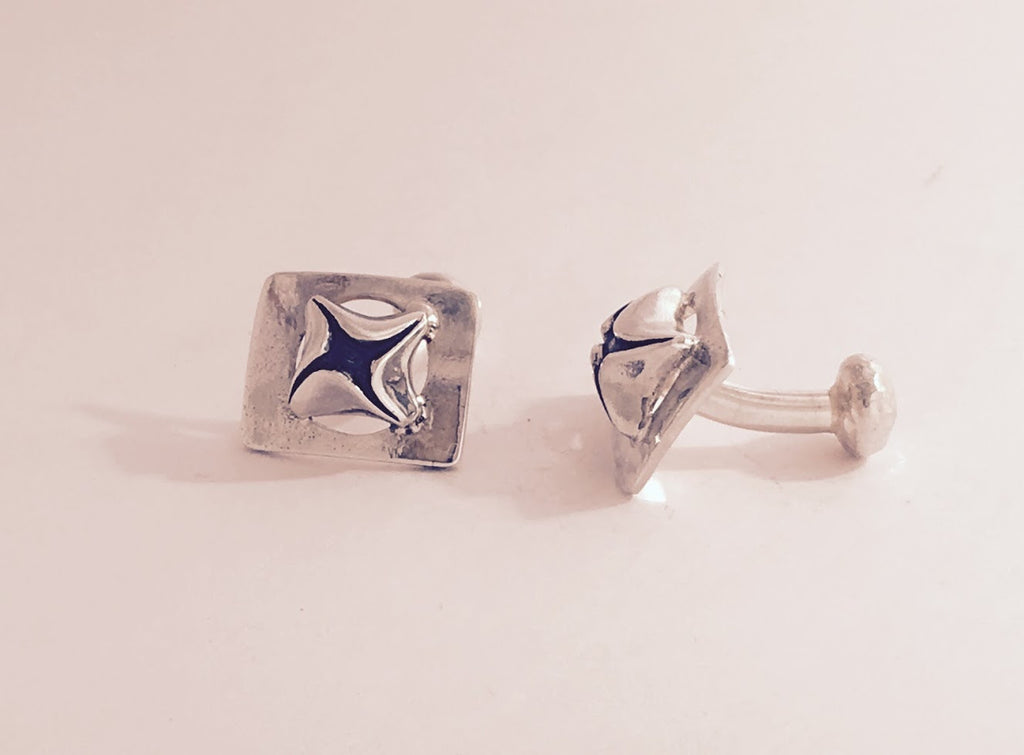 solid silver square shaped cufflinks