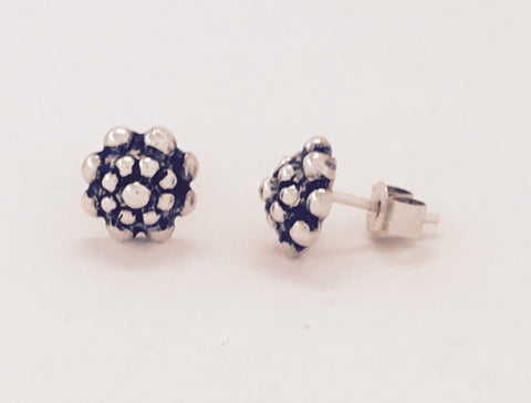 Silver Bobbly Stud Earrings