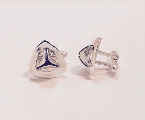 solid silver triangular cufflinks
