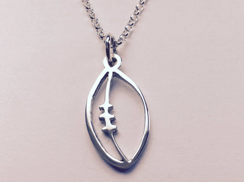 Silver Rugby Ball Pendant