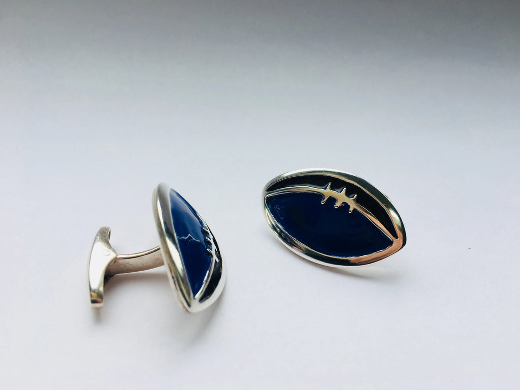 Silver and Enamel Rugby Ball Cufflinks