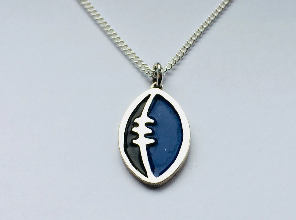 Silver and Enamel Rugby Ball Pendant