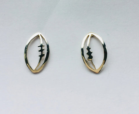 Silver Rugby Ball Stud Earrings