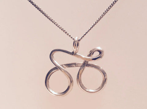 Silver cycling pendant 01