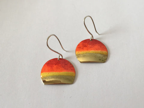 Silver & Brass with Resin Enamel Earrings