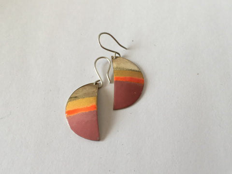 Silver and Brass Half Round Enamel Dangly Earrings