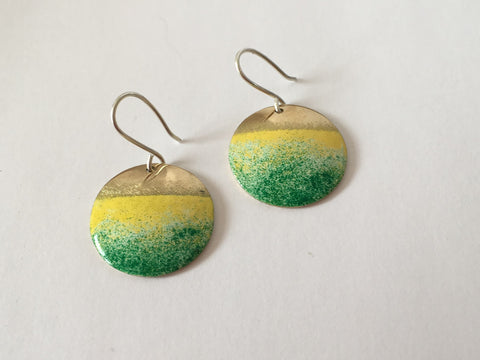 Silver & Brass Round Yellow Green Enamel Earrings