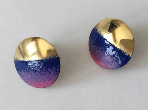 Brass & Blue Enamel Round Stud Earrings