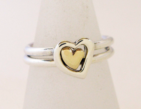 Silver & 9ct Gold 2 Interlocking Heart Rings