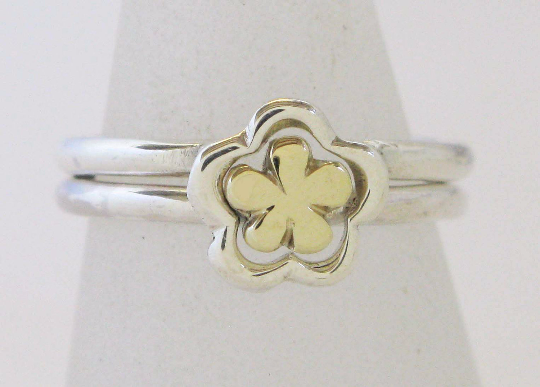 Silver & 9ct Gold 2 Interlocking Flower Rings