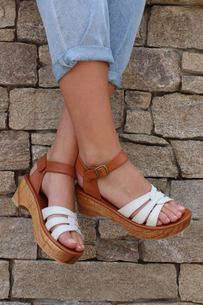 SAGE WOODEN LOW HEEL WHITE LEATHER