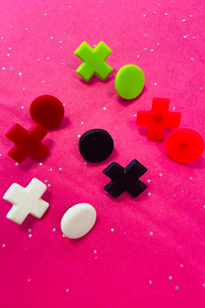 SO SUBLIME NAUGHTS & CROSSES STUDS ASSORTED COLOURS