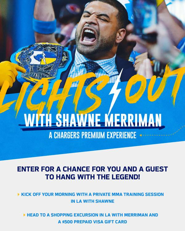 Enter for a Chance to Win a Day with the legend Shawne Merriman.